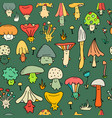 smiling mushrooms seamless pattern for your vector image