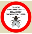 Sticker with Warning sign insect fly icon Fly vector image vector image