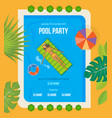 summer invitation to event on party near pool vector image vector image