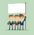 three business man holding a flag vector image