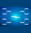 tournament bracket template for 8 teams on blue vector image vector image
