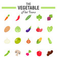 vegetable flat icon set food symbols collection vector image