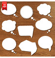 Wooden Background With Speech Bubbles Set vector image vector image