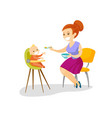 young caucasian white mother feeding her baby vector image vector image