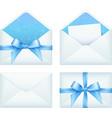 Blue envelope with ribbon set vector image