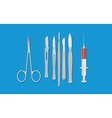 surgery surgeon metal tools with knife scissors vector image