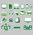 Media Icon Set Green Color vector image