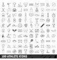 100 athlete icons set outline style vector image vector image