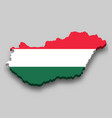 3d isometric map hungary with national flag vector image