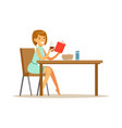 beautiful young woman character reading bok while vector image vector image