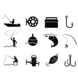 black fishing icons set vector image vector image