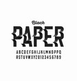 black paper craft style font vector image