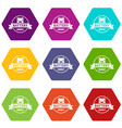 car battery icons set 9 vector image vector image