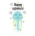 card with cute jellyfish isolated on white happy vector image vector image