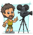 cartoon bearded boy character with movie camera vector image vector image