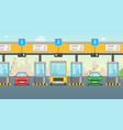cartoon pay road toll card poster vector image vector image