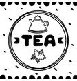 cartoon teapot with mint on white background tea vector image vector image