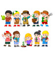 collection of kids holding young green plant vector image