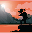 colorful sunset landscape of hiking woman taking a vector image vector image