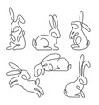 continuous line drawing easter rabbit set vector image