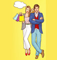 couple shopping young woman with shopping bags vector image vector image
