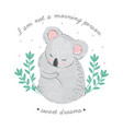 cute card with sleeping koala with closed eyes vector image vector image
