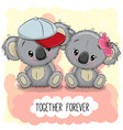 cute cartoon koalas boy and girl vector image vector image