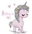 cute shy pink unicorn vector image