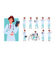 doctor female poses infographic set young woman vector image vector image