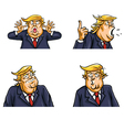 Donald Trump Face Expressions Set Pack vector image vector image