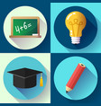 education icon set on white background lightbulb vector image