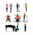 flat icons set symphony orchestra people vector image