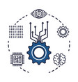 gears machinery with set icons vector image vector image