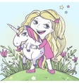 Girl and cartoon magic unicorn vector image