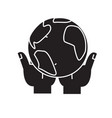 global business in hands black concept icon vector image vector image