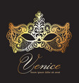 golden lace mask carnival venice carnival vector image vector image