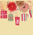 hanging gift boxes background floral decorative vector image