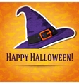 Happy halloween greeting card with witch hat vector image vector image