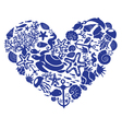 Heart is made of fishes corals shells vector image