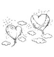 heart shaped hot air balloons soaring in air vector image