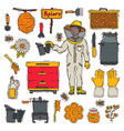 honey sweet apiary farm beekeeping icons vector image vector image
