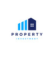 house bar chart property investment logo icon vector image