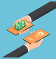 isometric businessman transferring money through vector image vector image