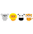 koala lion panda bear tiger ftoy icon line set vector image