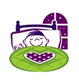 Little Boy Sleeping in a Bed vector image vector image