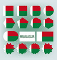 madagascar flag collection figure icons set vector image vector image