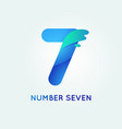 number seven in trend shape style vector image vector image