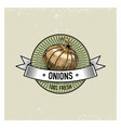 onions vintage set of labels emblems or logo for vector image vector image