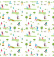 outdoor activity seamless pattern cartoon vector image vector image