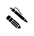 pen and pencil icon black vector image